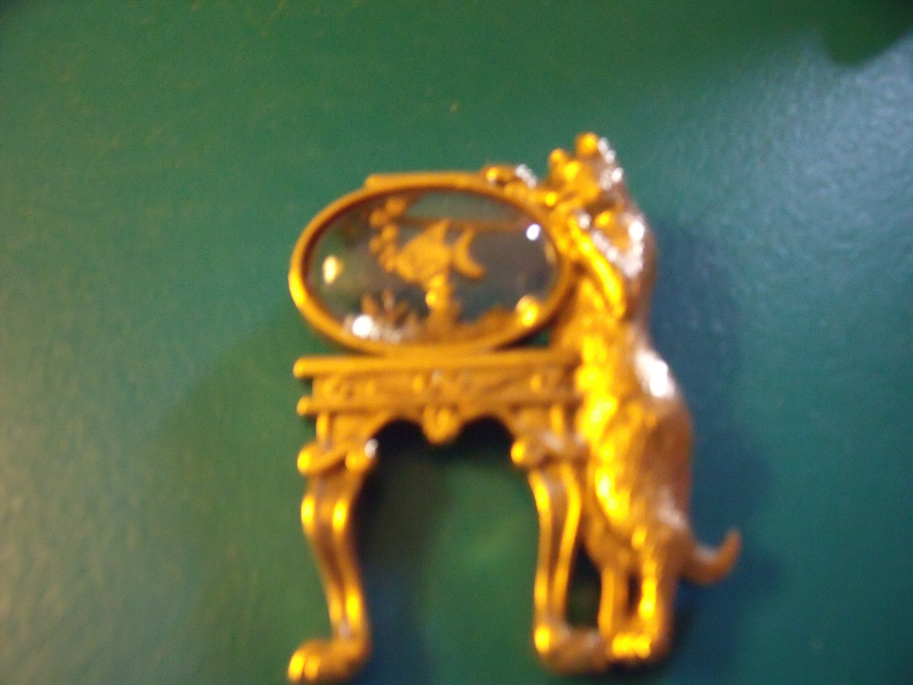 Cat Pin with Fish in Jelly Belly Bowl by 1928 - Gold Tone and Vintage - $40.00