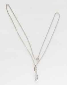 NEW 7 DIAMOND STERLING SILVER PENDANT DIAMOND NECKLACE VERY NICE