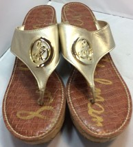 Sam Edelman Leather Ruth Gold Cork Wedge Sandals 9.5 Thong  Slip On Heels  - €28,89 EUR