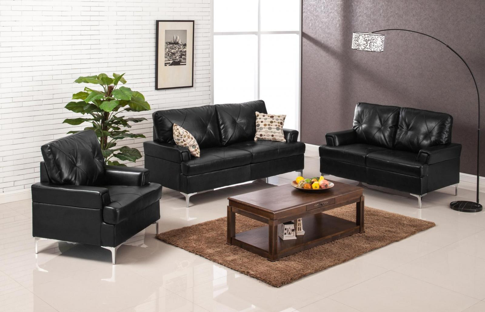 Myco furniture walker modern black bonded leather living room sofa set 3 pcs for Living room with black leather furniture