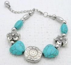 Vintage Silver Tone Faux Turquoise Flower Sun Celestial Bracelet - $19.80