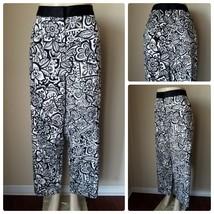 Nwt Lane Bryant Damen Hose Weiß Schwarz Blumenmuster Gerades Bein - $38.85