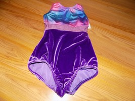 Size 8-10 Body Wrappers Dance Gymnastics Leotard Royal Purple Velour Pin... - $18.00