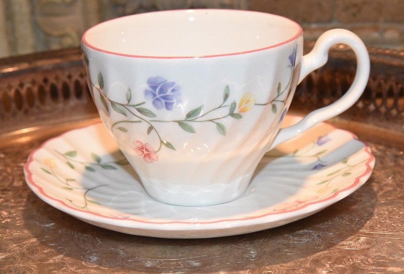 Primary image for Johnson Brothers Summer Chintz Tea Cup Saucer Set Floral Swirl England