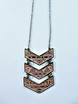 """Vintage 1970s Long Necklace Gold Tone Chain Triple Chevrons Pink Enamel 33"""" L - $12.86"""