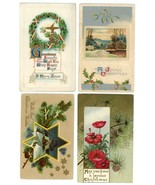 Victorian Christmas postcards lot 4 embossed gold holiday greeting crafts - $12.00