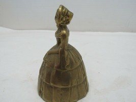 Vintage Victorian Lady in Dress Brass Bell 1920's Heavy Brass - $24.21