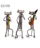 Metal Figurine A Playing Guitar/Saxophone/Singing Cat Figurine ! - $64.95