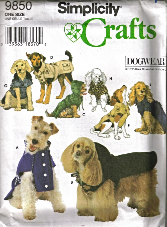Simplicity 9850 Dog Wear Stadium Duffle Ski Trench Coats Pattern