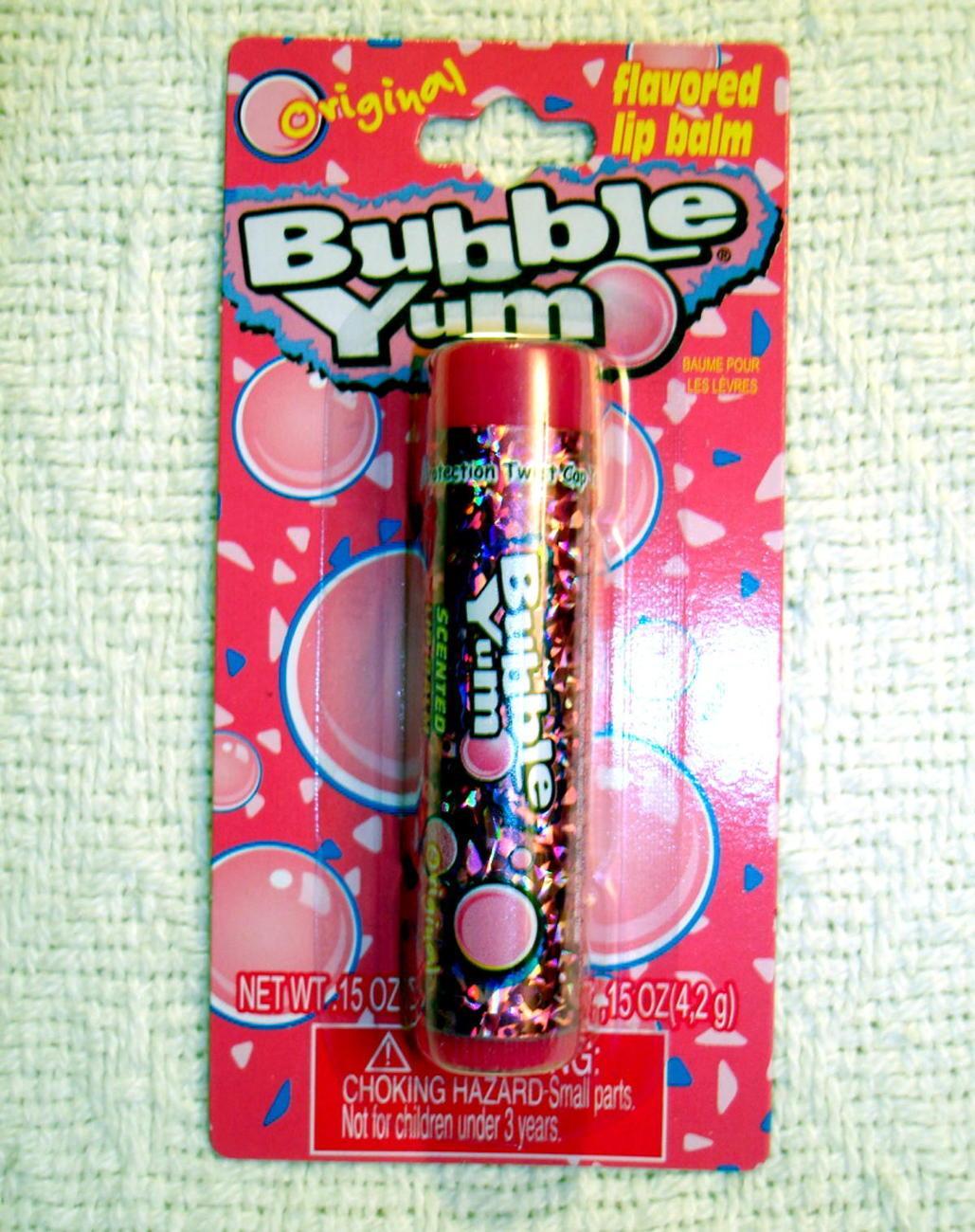 Bubble Yum Flavored Lip Balm Gloss Chewing Gum Original 3 Tubes