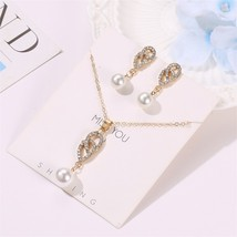 LATS Pearl Jewelry Set for Women Rhinestone Drop Earrings Necklace Set T... - $11.30