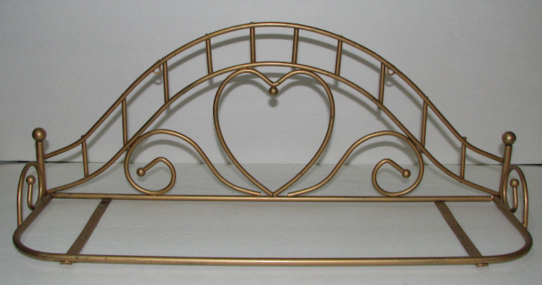 Shabby Brass Colored Metal Heart Curio Wall Shelf Chic Valentines