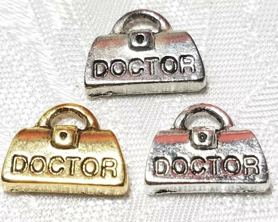 DOCTOR'S BAG FINE PEWTER PENDANT CHARM - 14mm L x 11mm W x 4mm D