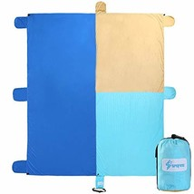 Spofine Beach Blanket Sand Proof, Oversized 10'X 9' Beach Mat Sand Free, Compact