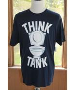 Think Tank Small Novelty Toilet Tee Short Sleeve Navy Blue White T-Shirt... - $14.99