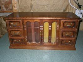 "VINTAGE HIMARK WOOD JEWELRY BOX GLASS DOORS MADE IN TAIWAN 20"" X 7 1/2"" ... - $58.09"