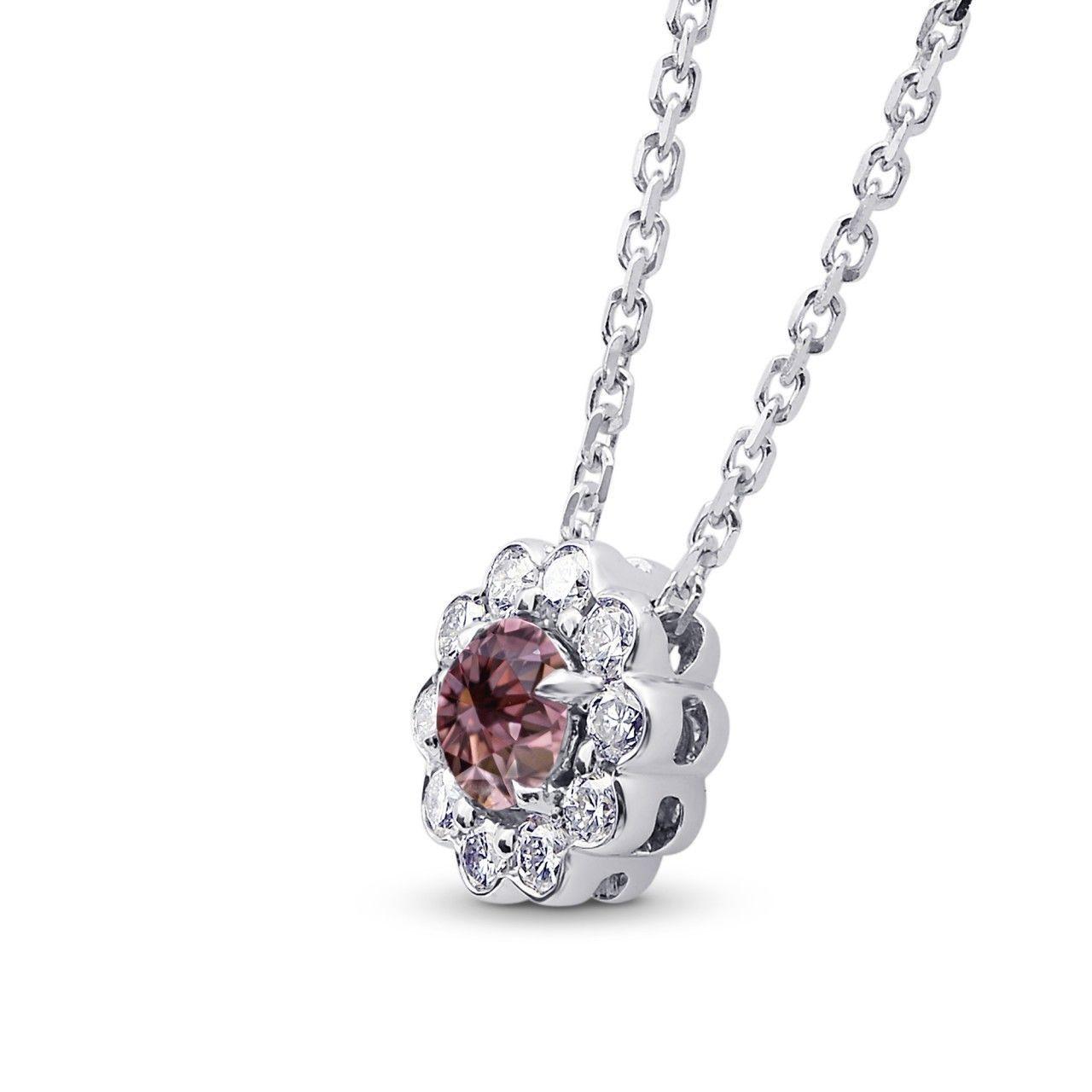 0.45Cts Pink Diamond Halo Pendant Necklace Argyle Set in 18K  White Gold GIA