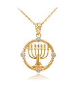 10K Yellow Gold Hanukkah Menorah Diamond Pendant Necklace - $119.99+