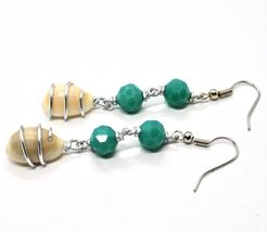 EARRINGS THE ALUMINIUM LONG 6 CM WITH SEASHELLS AND CRYSTAL GREEN WATER image 5