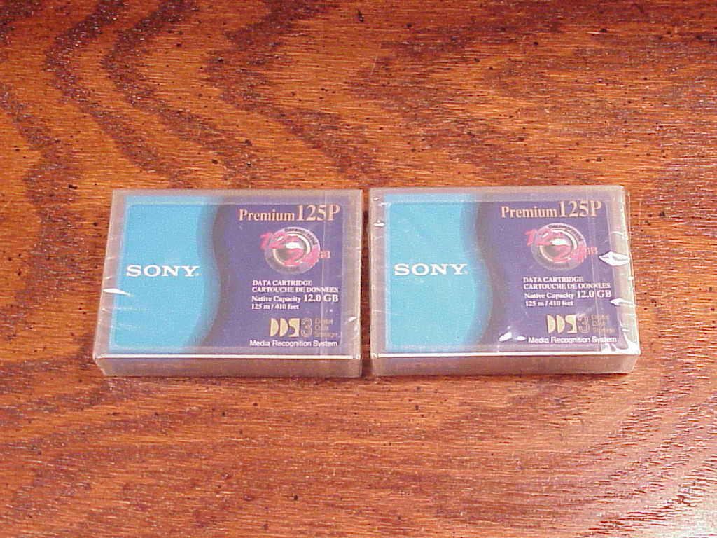 Primary image for Lot of 2 New Sony DGD125P Premium Data Cartridges, 12.0 GB, 125m, 410 feet, 125P