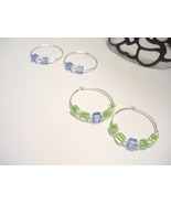 Lime and Ice Silver Hoop Earrings - $4.00