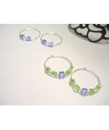 Lime and Ice Silver Hoop Earrings - $4.00