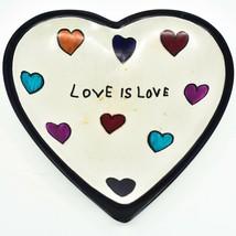 "Crafts Caravan Handmade Kisii Soapstone ""Love is Love"" Heart Shaped Trinket Dish image 1"