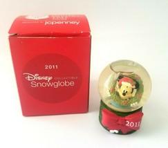 2011 Disney Collectible Snowglobe Snow Globe Mickey Mouse Christmas Wreath JCP  - $11.14