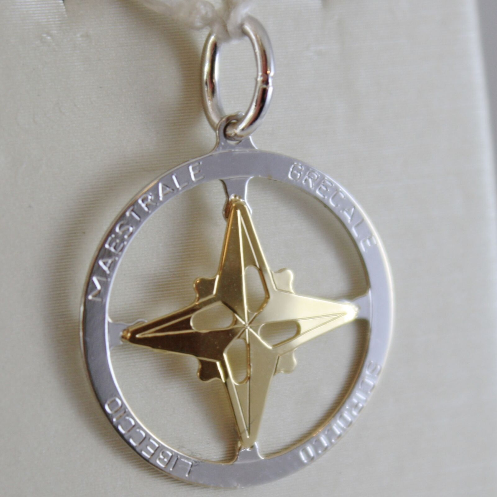 18K WHITE & YELLOW GOLD WIND ROSE, COMPASS CHARM, WINDS PENDANT MADE IN ITALY