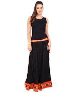 Black & Orange Border Jaipuri Skirt - SNY18244 - $26.00