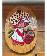 Estate Hand Carved & Painted Strawberry Shortcake Oval Wood Plaque – 15 ... - $19.39