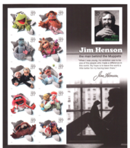 Jim Henson and the Muppets, Full Sheet of 11 x 37-Cent Postage Stamps, U... - $8.56