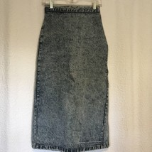 Vintage Denim Blue Jean Pencil Skirt Jeans St Tropez Acid Stone Wash Jun... - $42.56