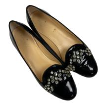 Kate Spade Pilar Bejewelled Patent Black Ballet Flats Size 8M - $137.99