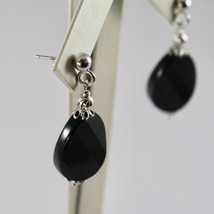 Silver Earrings 925 with Onyx Oval Faceted and Balls Faceted image 2