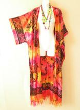 CD405 Tie Dye Gecko Cardigan Duster Kimono Plus Long Hippie Jacket - 3X,... - $29.60