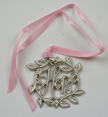 Primary image for Longaberger Horizon Of Hope Tie-On Metal With Pink Ribbon Accessory Collectible