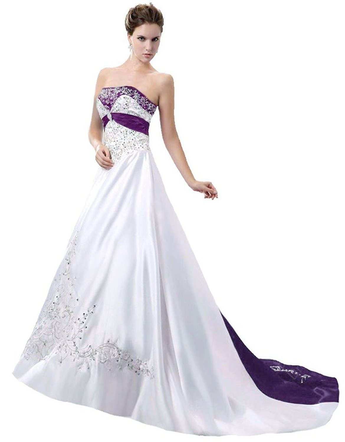 A-line Satin Strapless Embroidery Wedding Dress Bridal Gown Wedding Bride Dress