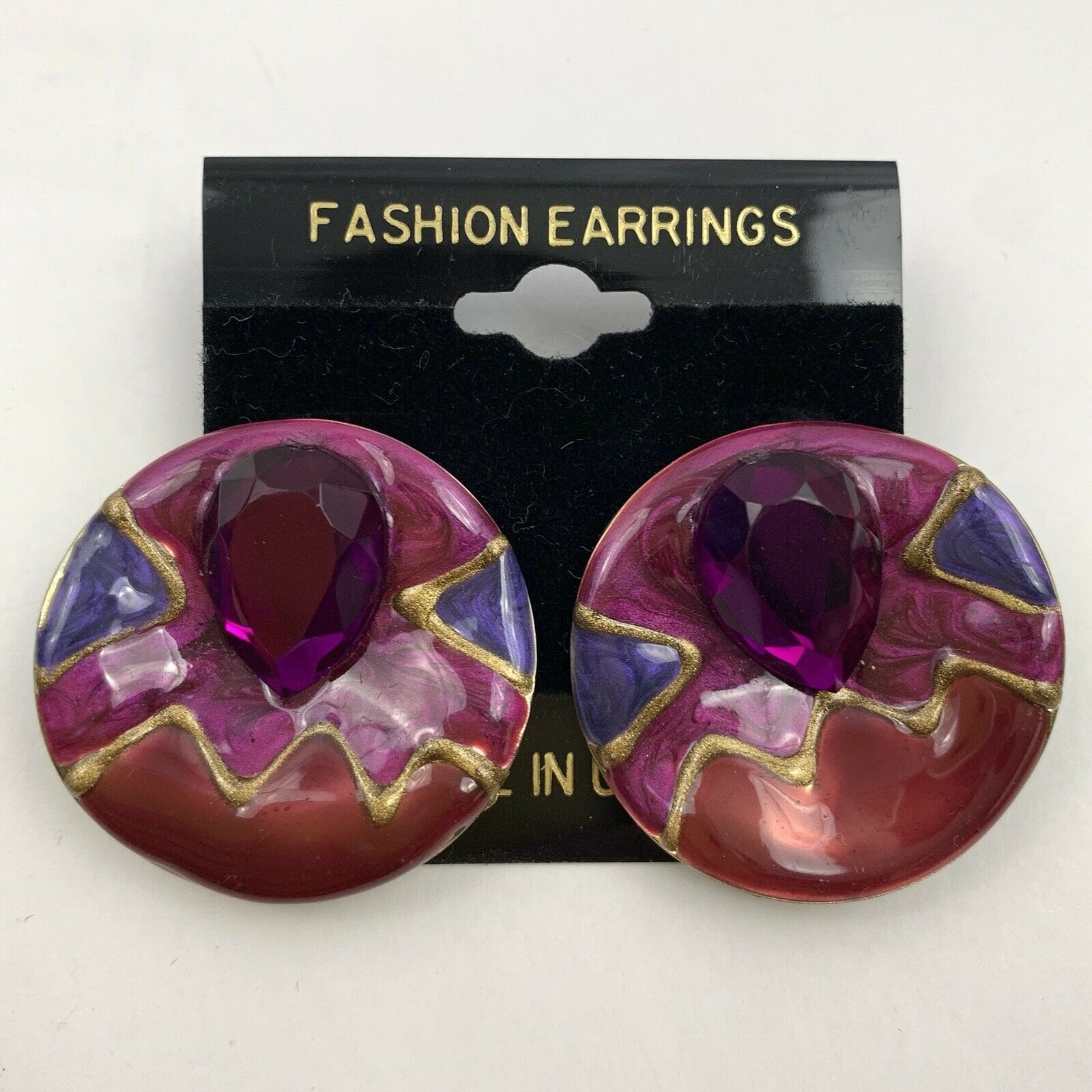 Primary image for Vintage Pink Rhinestone 80s 90s Enamel Round Pierced Earrings New Wave NOS Big