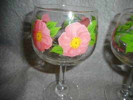 "VINTAGE FRANCISCAN WARE DESERT ROSE 6 1/2"" TALL WINE GLASSES LOT OF 4  N/R - $34.99"