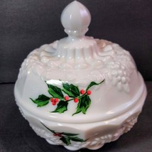 Westmoreland Panel Grape Christmas Holly Berry Puff Box Covered Candy Dish  - $28.71