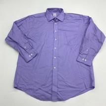Pronto Uomo Dress Shirt Mens 16.5 Purple Long Sleeve 100% Cotton Non Iro... - $18.95