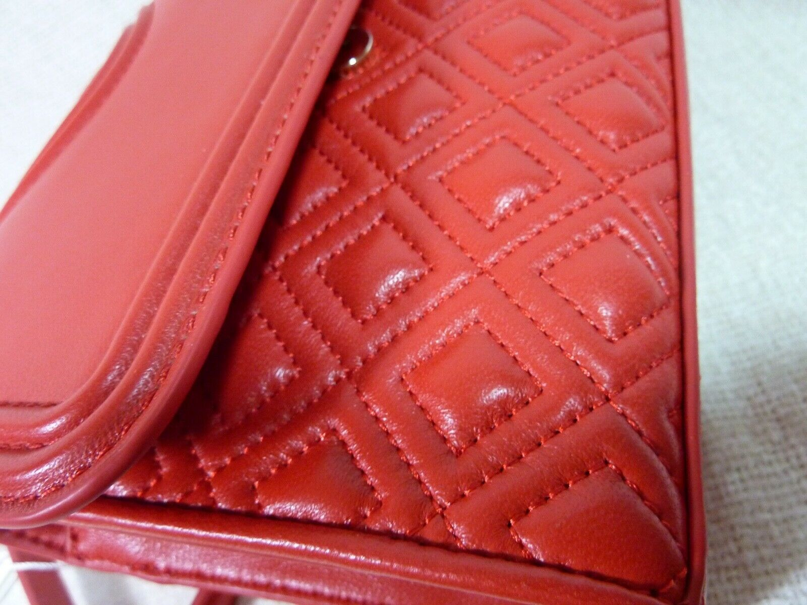 NWT Tory Burch Red Volcano Leather Small Fleming Convertible Bag