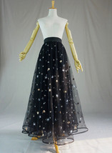 BLACK MAXI Tulle Skirt Women Black Bling Party Prom Skirt High Waist Plus Size  image 3