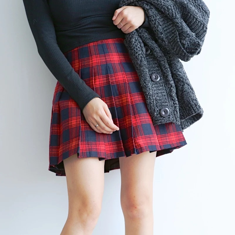 Women Girl Pleated Plaid Skirt School Style Pleated Plaid Skirt- Red Green, Plus