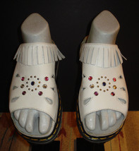 Dr. Martens ENGLAND AirWair White Leather Jeweled Fringed Chunky Slides Sz. 6 - $47.03