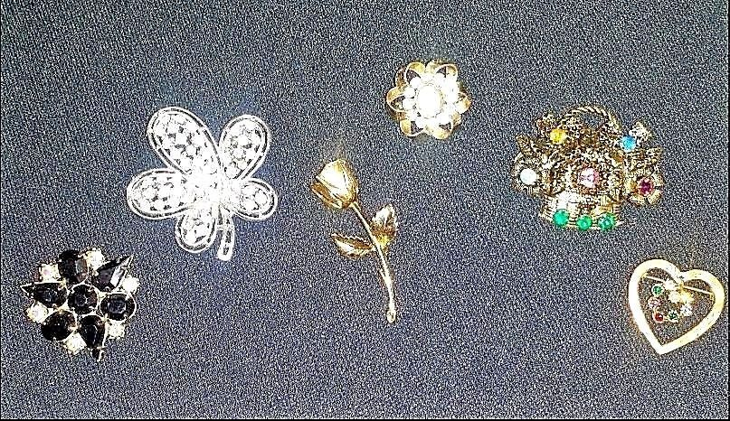 Brooches AB 730 Set of 6 Vintage