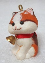 Hallmark 1982 Christmas Kitten Ornament Cat w Bell Great Shape No Box  - $16.34