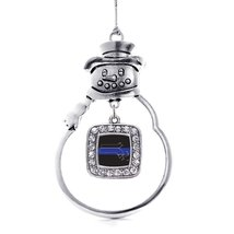 Inspired Silver Massachusetts Thin Blue Line Classic Snowman Holiday Ornament - $14.69