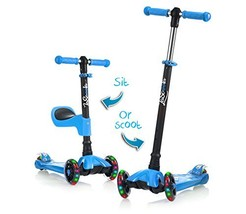 LaScoota 2-in-1 Kick Scooter with Removable Seat Great for Kids & (Blue) - $104.91